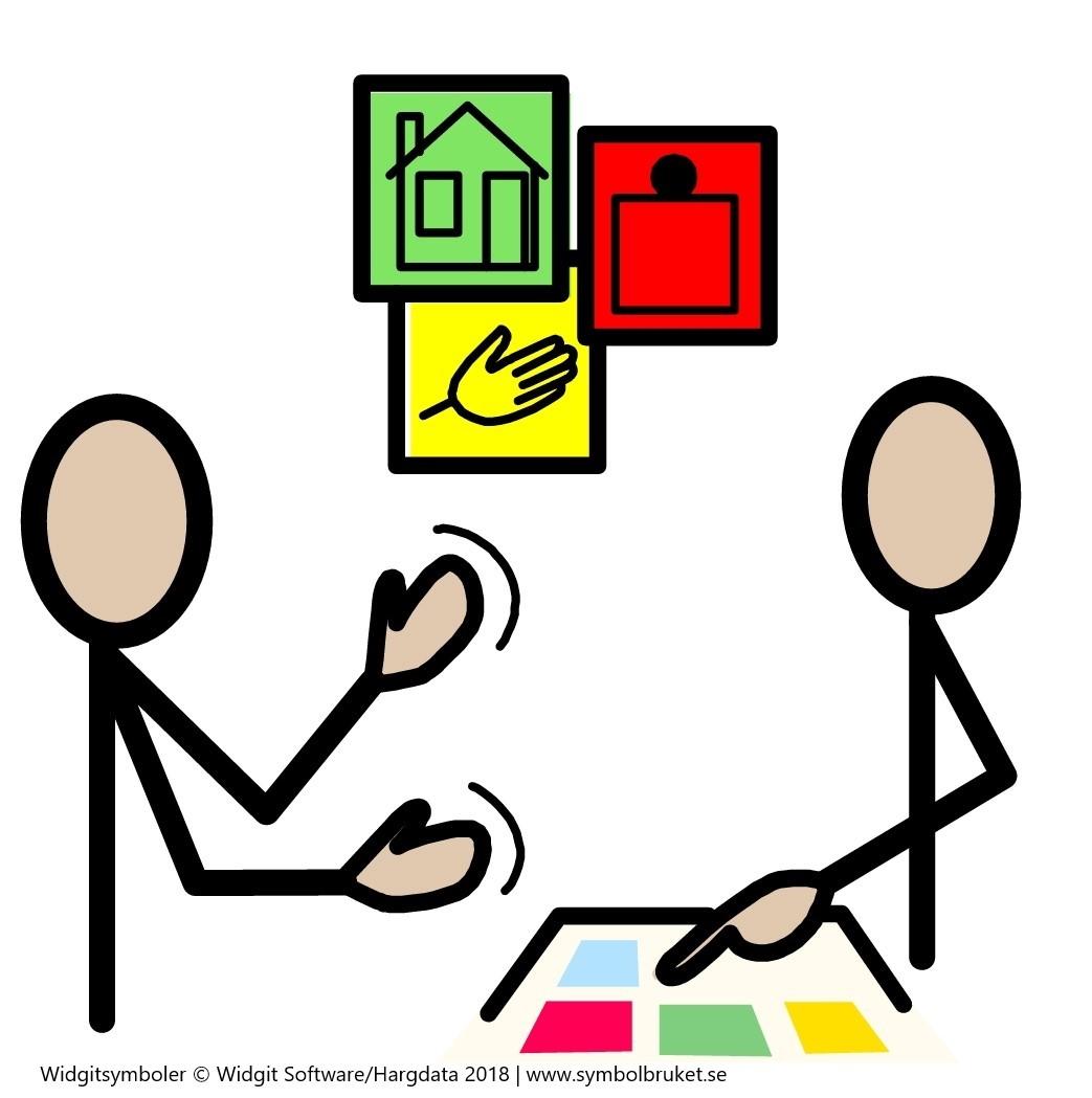 Bildstöd som symboliserar alternativ och kompletterande kommunikation.