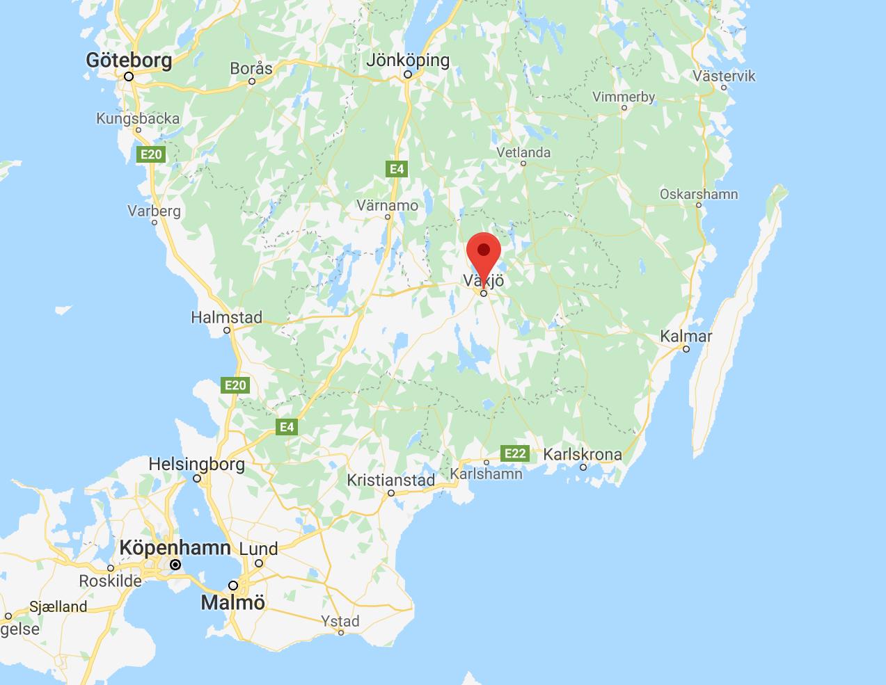 Sverigekarta med Växjö utmarkerat.